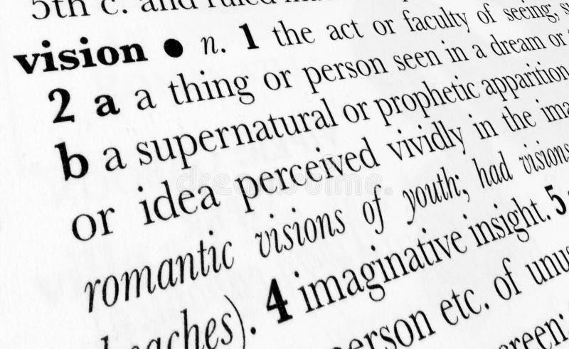 Término del diccionario de palabra de la visión fotos de archivo
