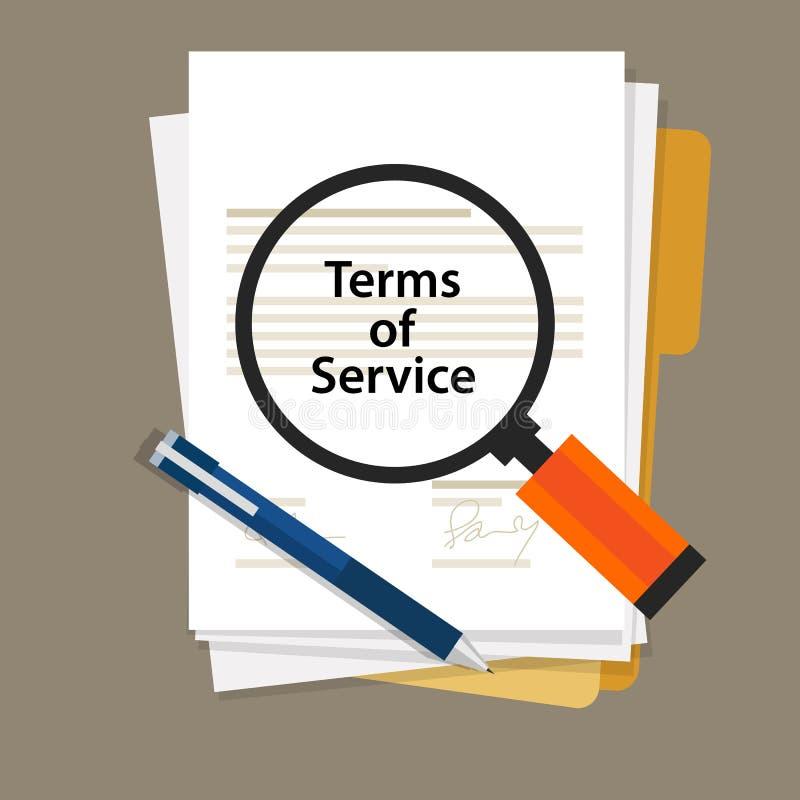 Términos del documento del contrato de servicio firmado ilustración del vector