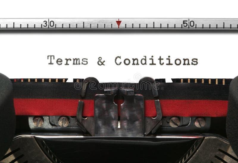 Términos y condiciones de la máquina de escribir fotografía de archivo
