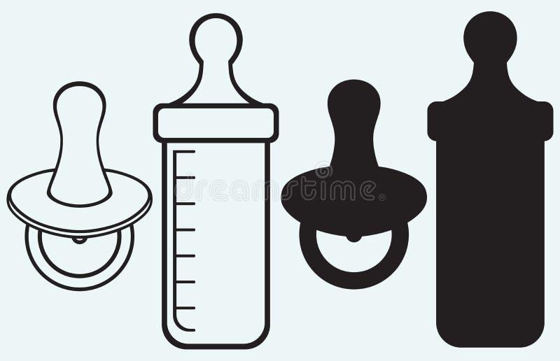 Tétine et bouteille de bébé illustration de vecteur