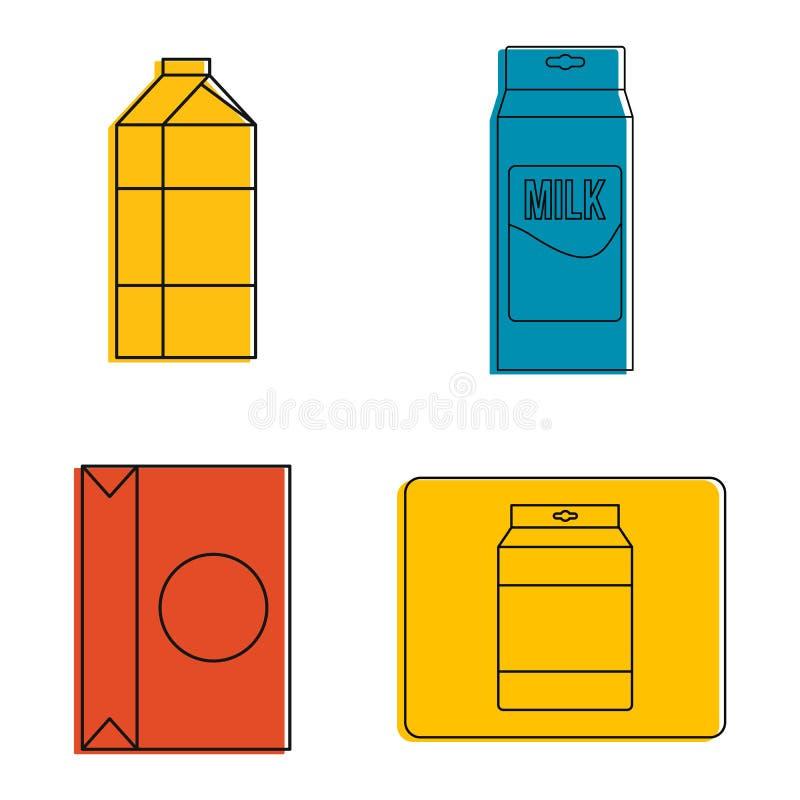 Tétra ensemble d'icône de paquet, style d'ensemble de couleur illustration de vecteur