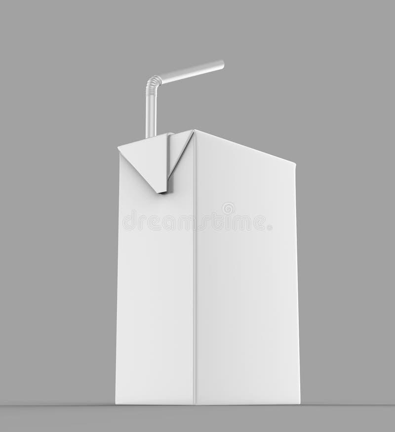Tétra paquet blanc vide de jus et de lait de carton de paquet avec le rendu réaliste blanc de paille pour la moquerie vers le hau illustration libre de droits