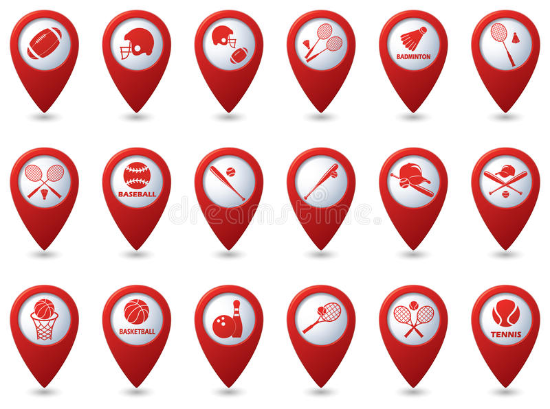 Tênis, basebol, ícones do futebol americano em ponteiros do mapa ilustração stock