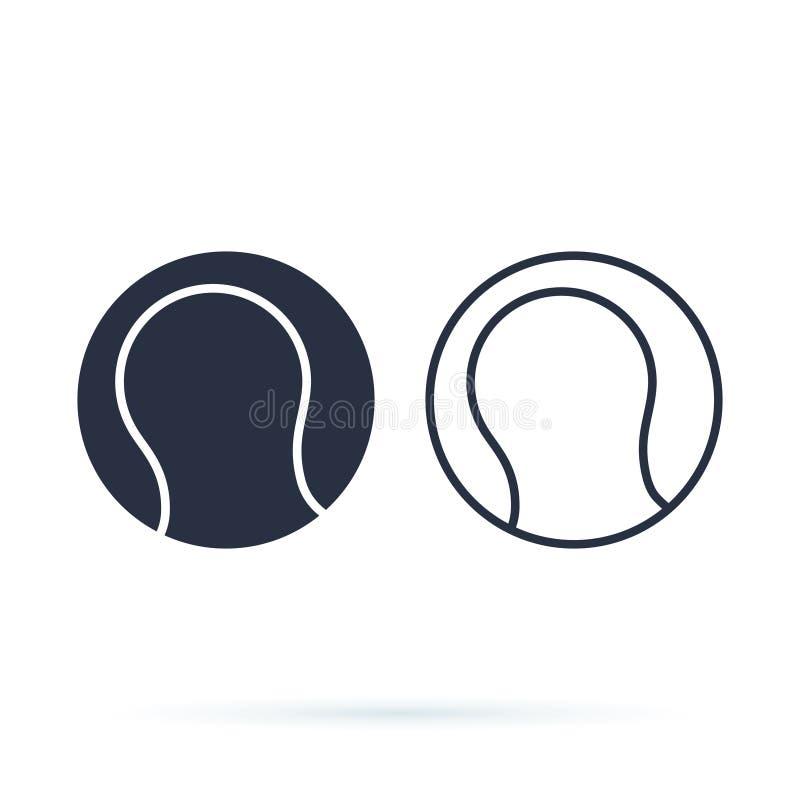 Tênis da bola isolado na ilustração branca do vetor do ícone do projeto do esporte Jogo do jogo ou fazer o conceito do esporte ilustração royalty free