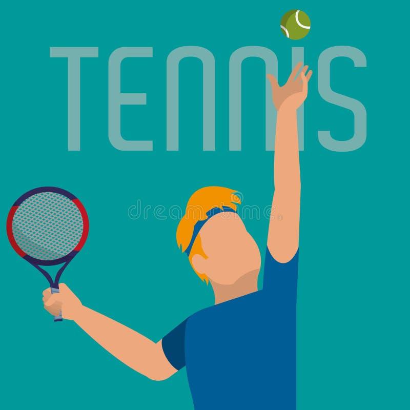 Tênis da prática do homem com objeto da raquete ilustração do vetor