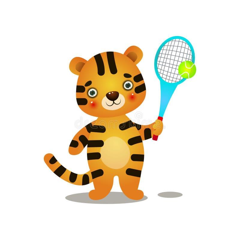 Tênis de corte bonito do jogo do tigre da criança com raquete de madeira ilustração royalty free