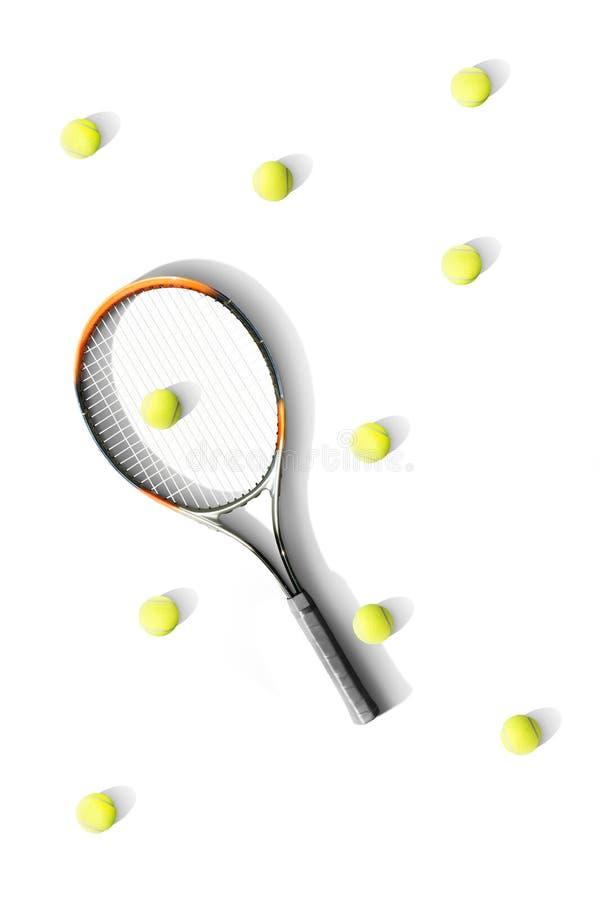 tênis Raquete e bolas de tênis o fundo branco Isolado esporte foto de stock royalty free