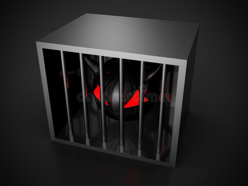 Tête à cornes mauvaise de diable en cellule métallique illustration de vecteur