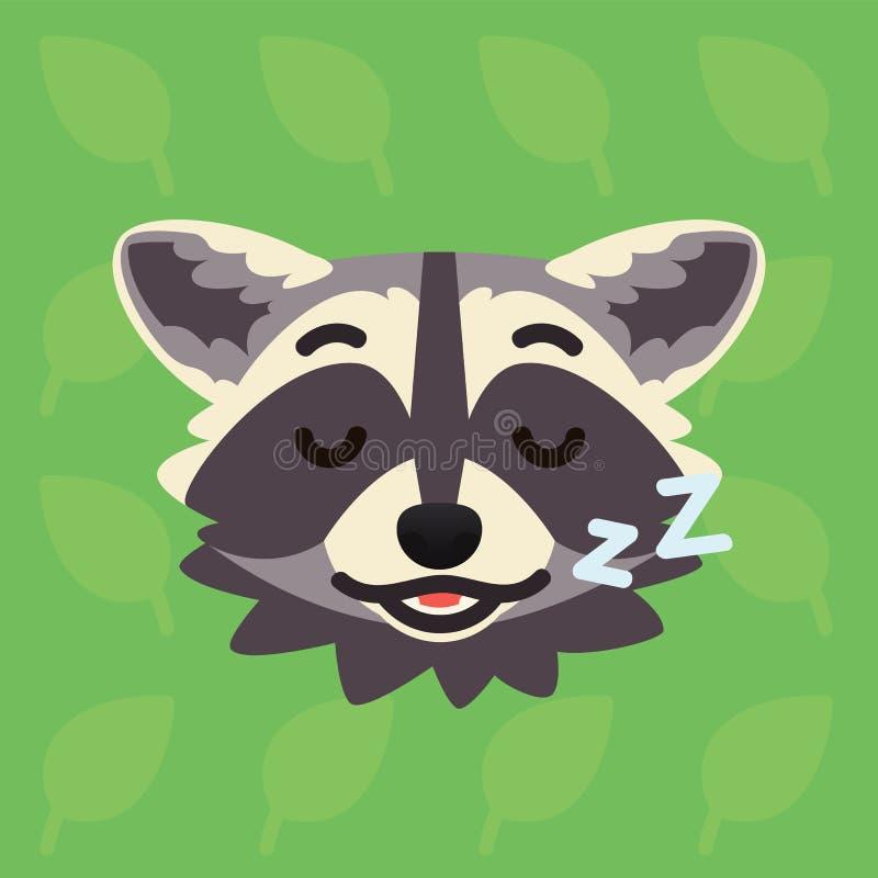 Tête émotive de raton laveur L'illustration de vecteur du ragondin mignon montre l'émotion de détente Emoji de sommeil Graphisme  illustration stock
