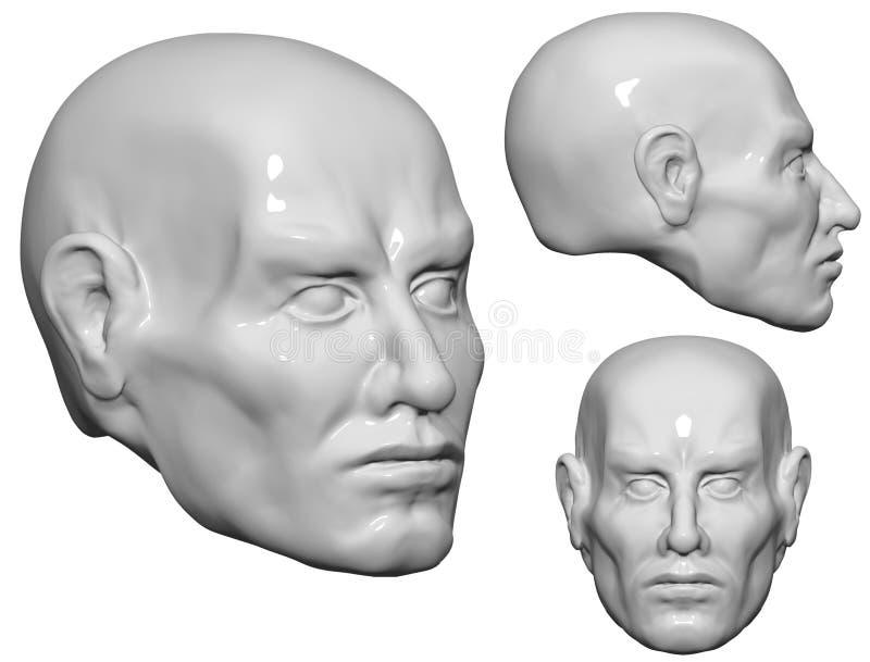 tête 3D de l'homme image libre de droits