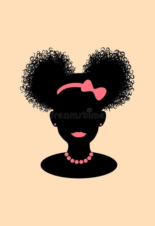 Tête américaine de fille de petit africain noir avec les souffles bouclés de queue de poney et l'illustration rose de silhouette  illustration libre de droits