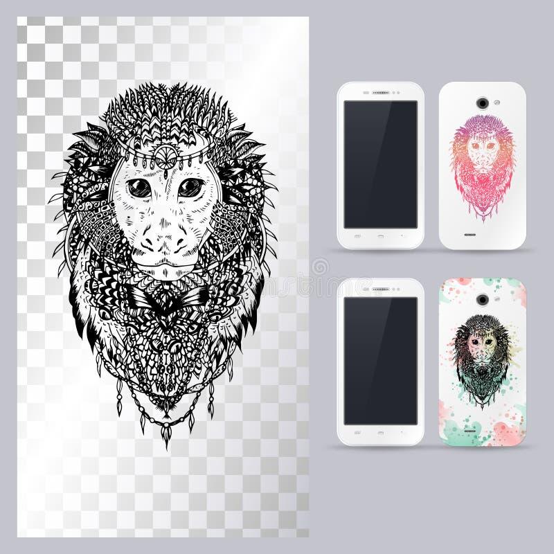 Tête animale noire et blanche de singe Illustration de vecteur pour le cas de téléphone illustration stock