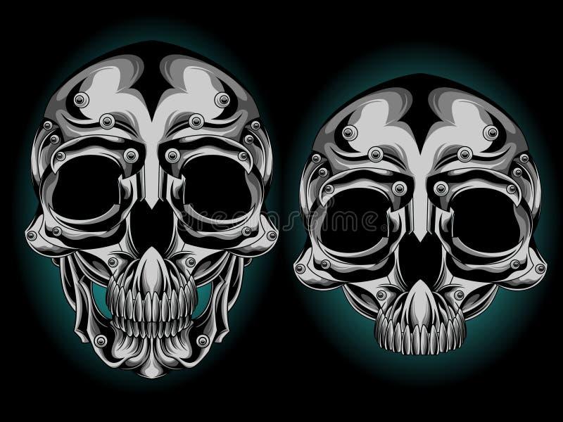 Tête argentée de crâne illustration stock