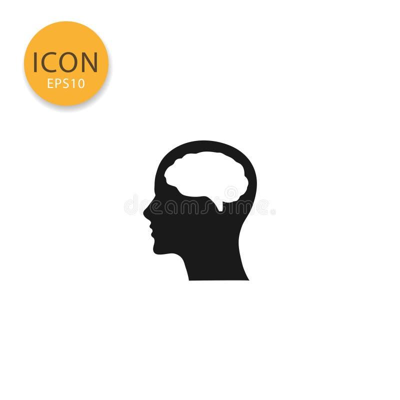 Tête avec le style plat d'isolement par icône de cerveau illustration stock