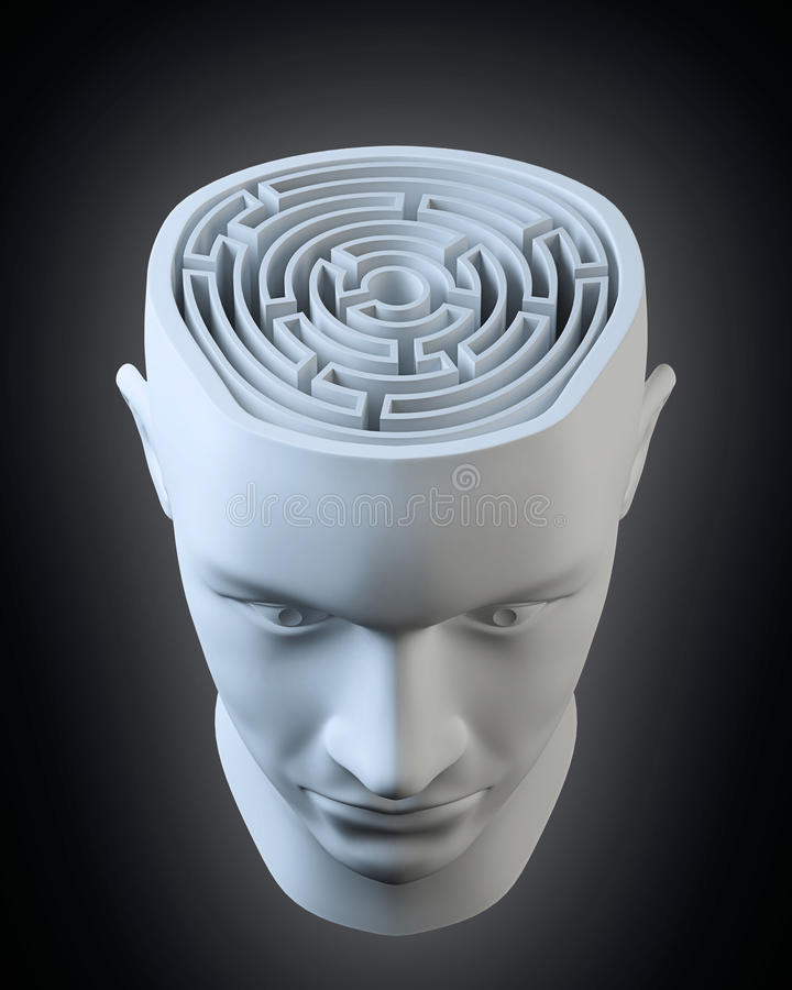 Tête avec un labyrinthe à l'intérieur illustration de vecteur
