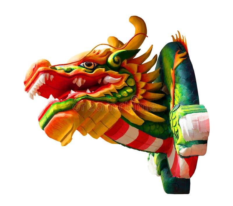 Tête colorée de dragon dedans au-dessous de vue sur le fond blanc d'isolement images libres de droits
