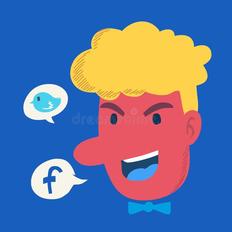 Tête colorée et réseau social illustration stock