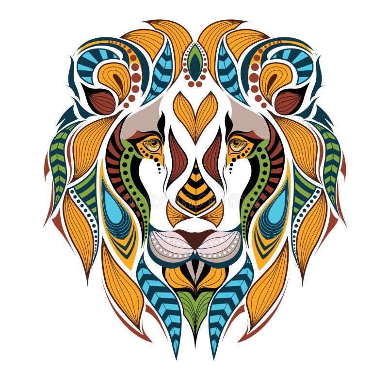 Tête colorée modelée du lion photo stock