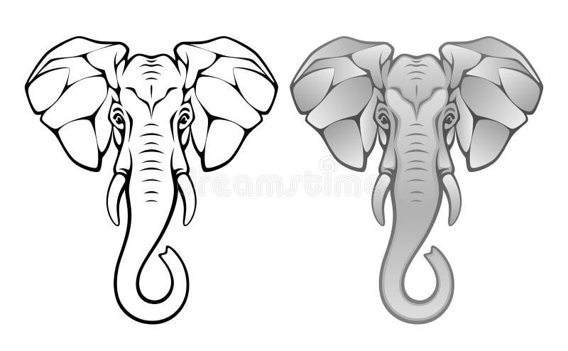 Tête d'éléphant illustration de vecteur