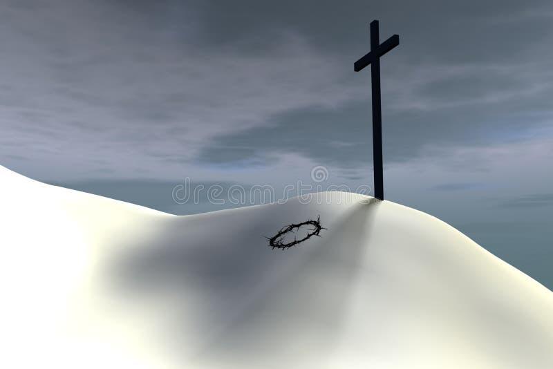 Tête d'épine à la base de la croix illustration libre de droits