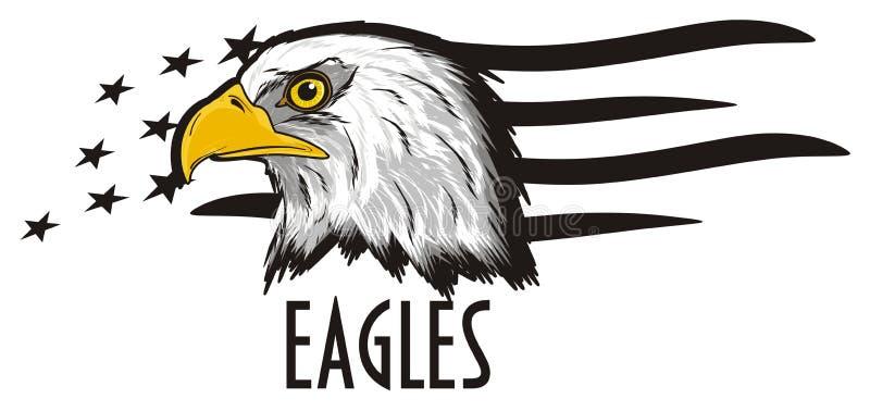Tête d'aigle et de beaucoup de signes illustration stock