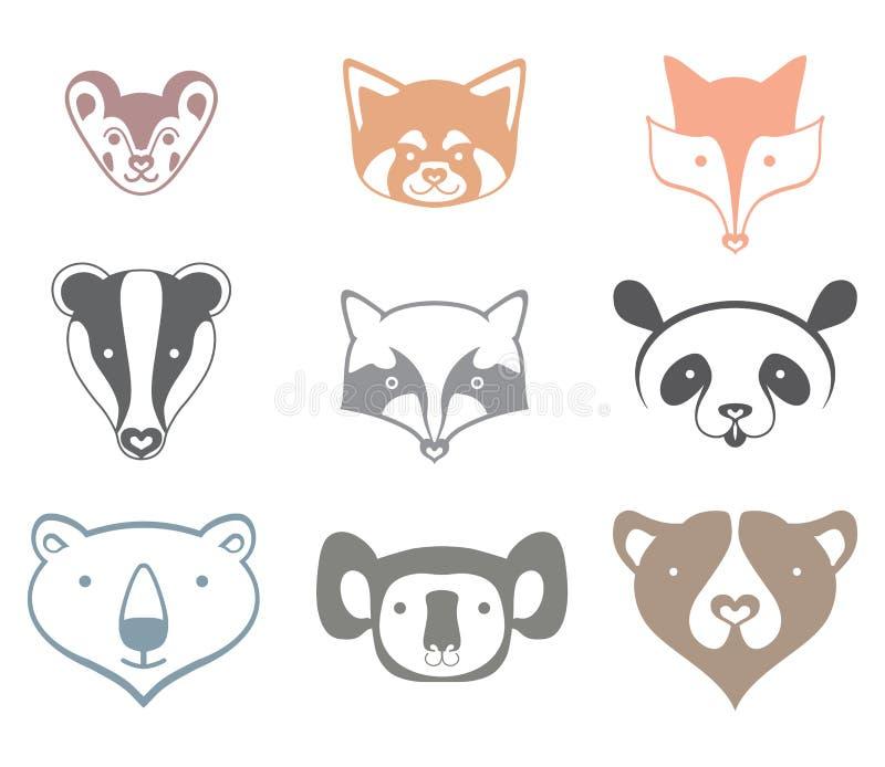 Tête d'animaux d'icônes illustration stock