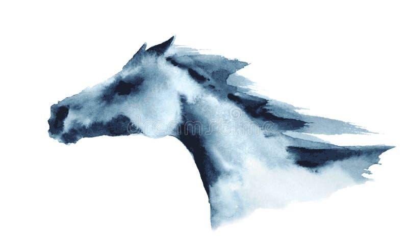 Tête d'aquarelle de cheval galopant illustration stock