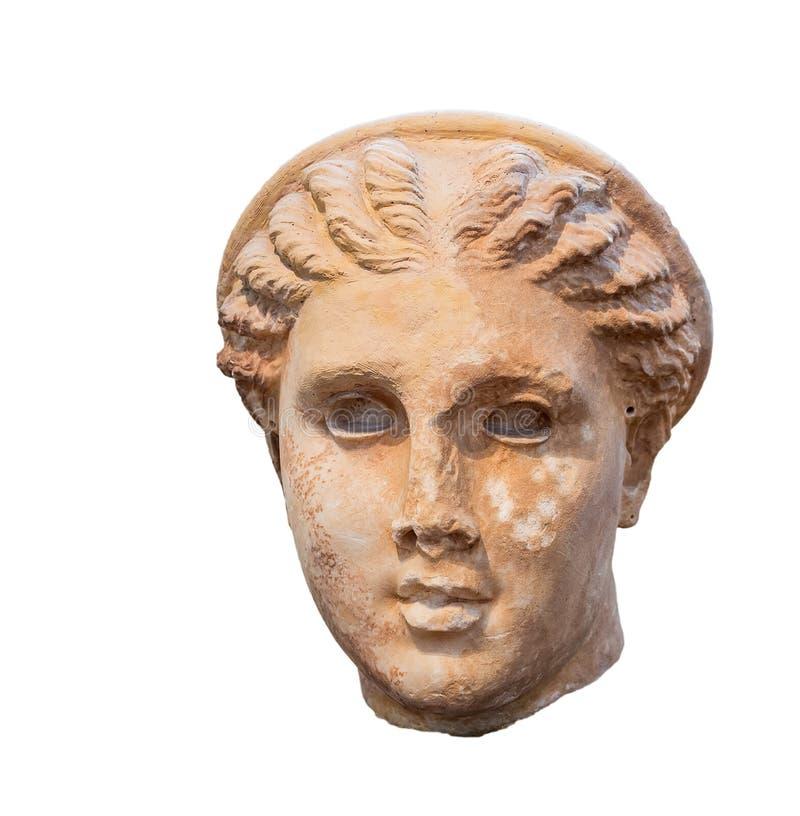 Tête d'Artemis de déesse, sculpture en grec ancien photos stock