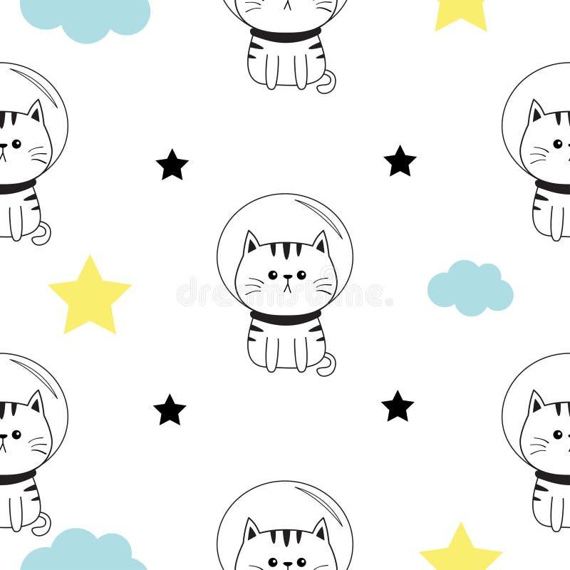Tête d'astronaute de chat, mains Nuage, forme d'étoile Caractère mignon de kawaii de bande dessinée Collection d'animal familier  illustration de vecteur