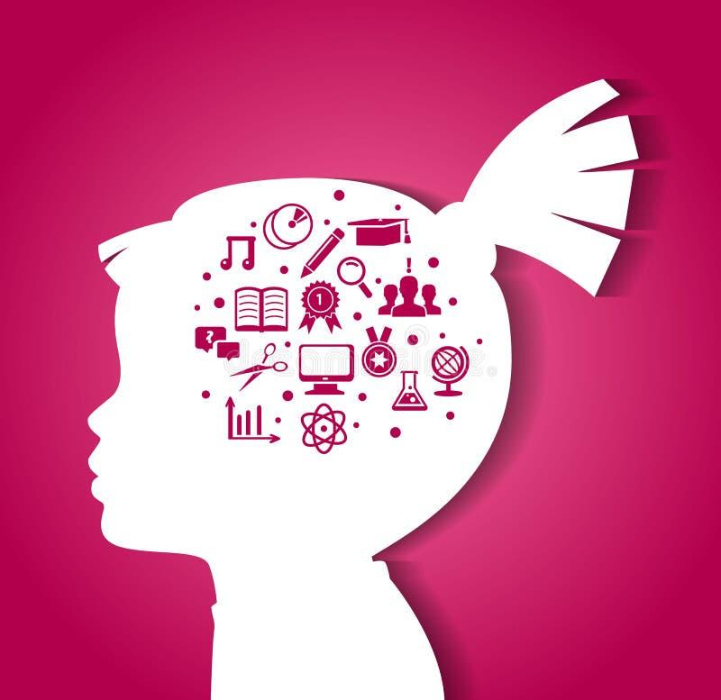 Tête d'enfant avec des icônes d'éducation illustration stock