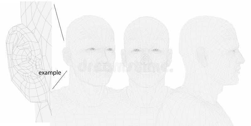 Tête d'homme de fil. trois angles. illustration stock