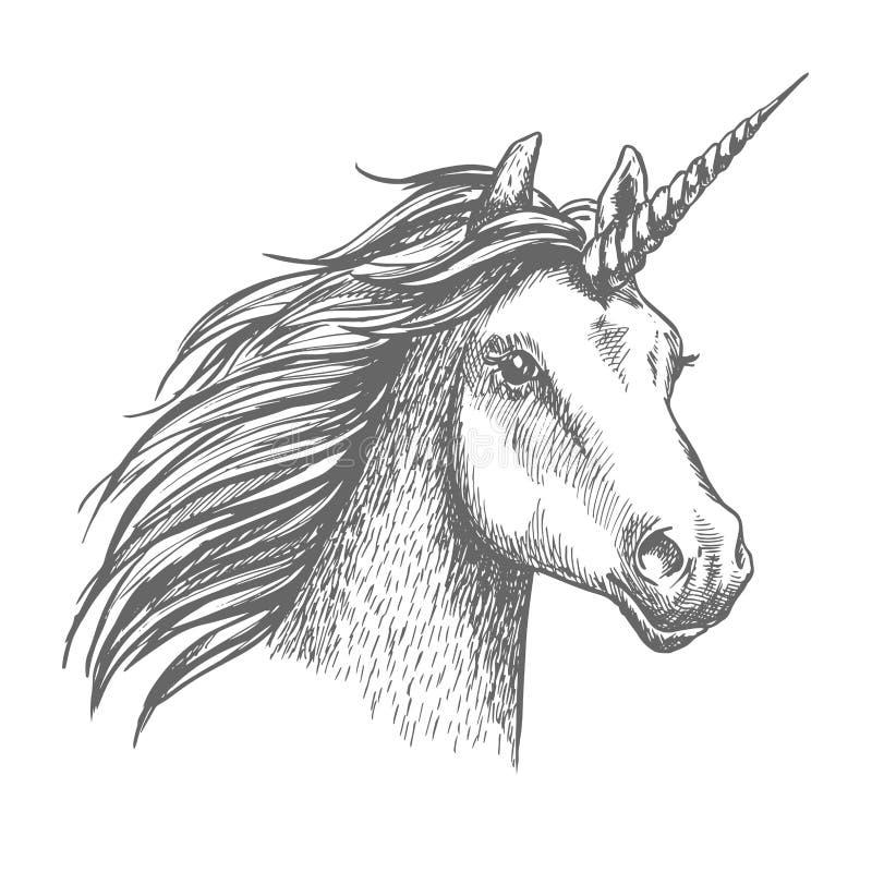 Tête d'isolement par croquis de vecteur de licorne illustration stock