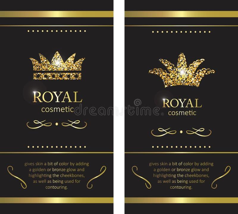 Tête d'or Label, emblème ou emballage de luxe Conception de LOGO illustration libre de droits
