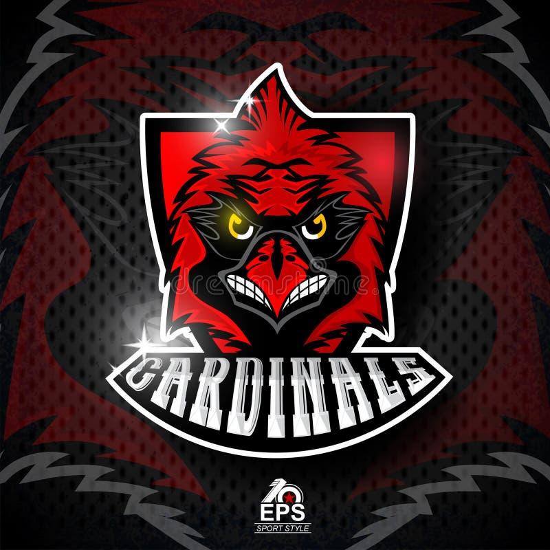 Tête d'oiseau sur le bouclier rouge Logo pour tous cardinaux d'équipe de sport illustration libre de droits