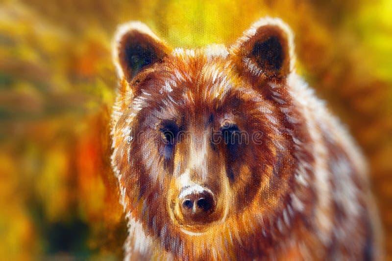 Tête d'ours brun puissant, peinture à l'huile sur la toile et collage de graphique Fond brouillé Contact visuel illustration de vecteur