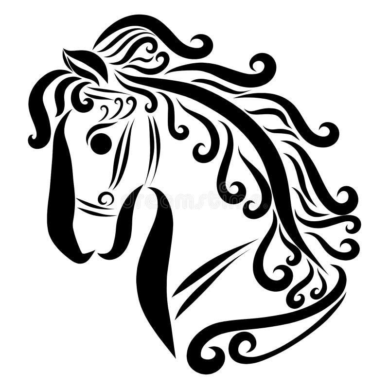 Tête d'un beau jeune cheval avec un frein illustration stock