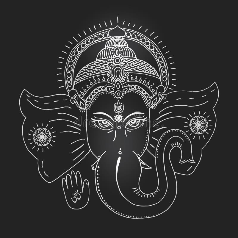 Tête d'un dieu indou Ganesha illustration stock