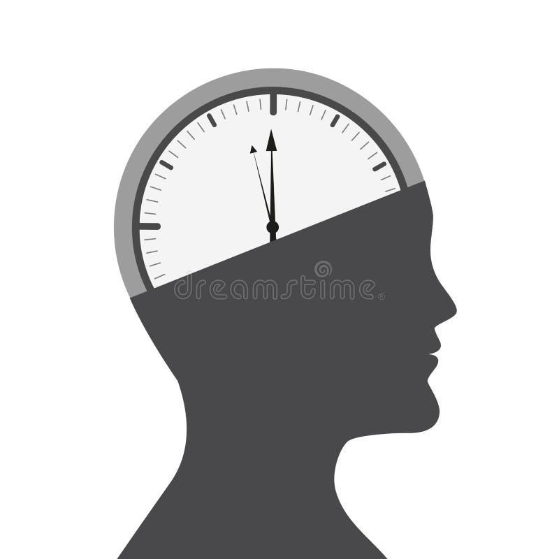 Tête d'un homme avec l'horloge dans le cerveau illustration de vecteur