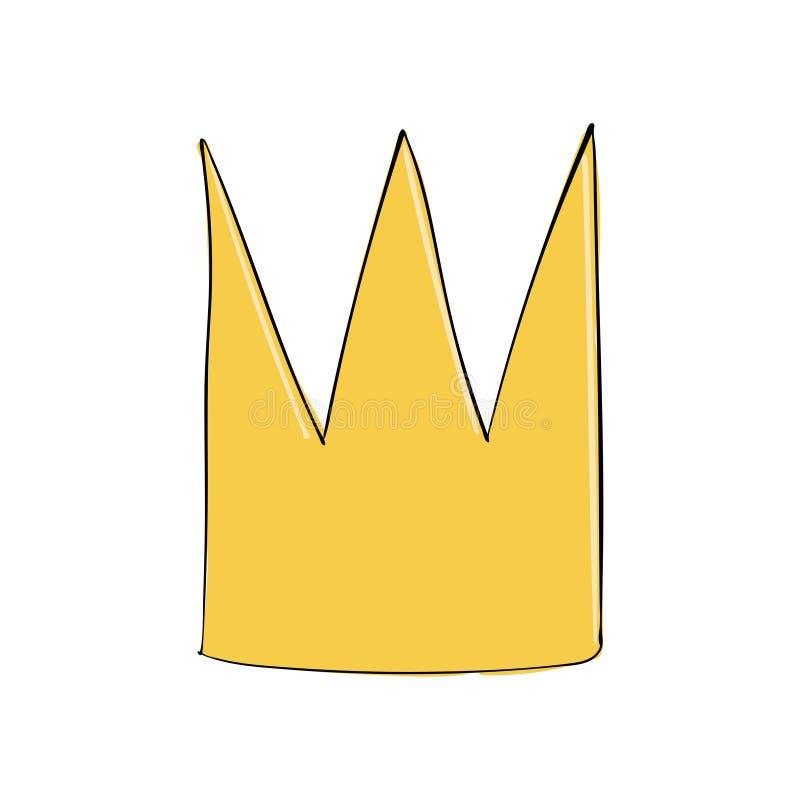 Tête d'or Un symbole d'autorité Casque du roi Icône dénotant le succès et les insignes illustration libre de droits