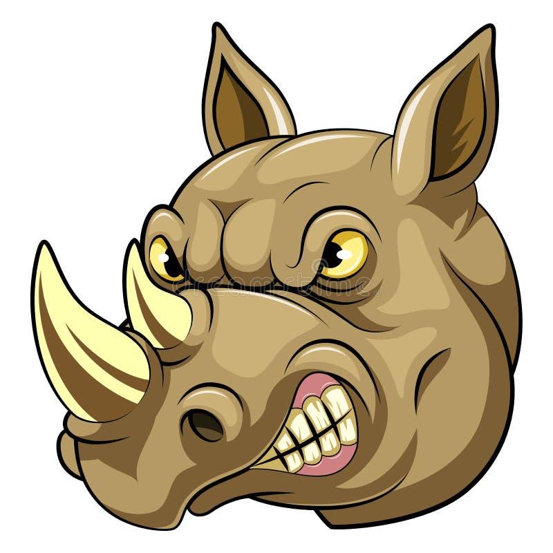 Tête d'une bande dessinée fâchée de rhinocéros illustration libre de droits