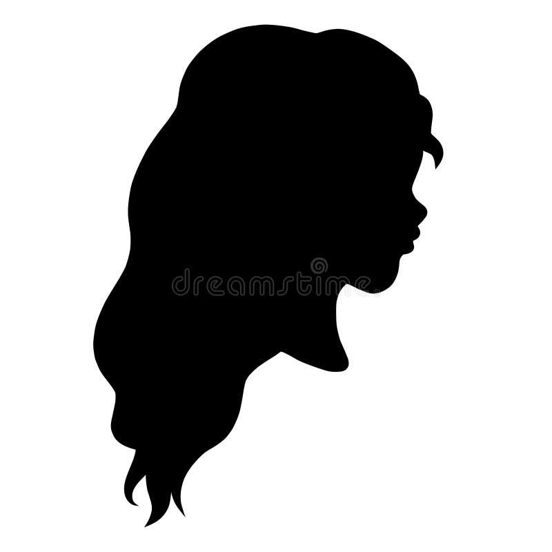 Tête d'une jeune fille avec de beaux longs cheveux onduleux, profil, sil illustration stock