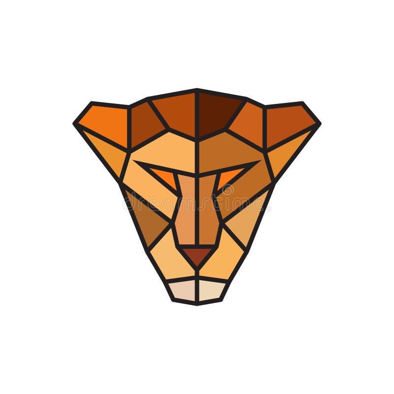 Tête d'une lionne Calibre de logo pour des affaires illustration stock