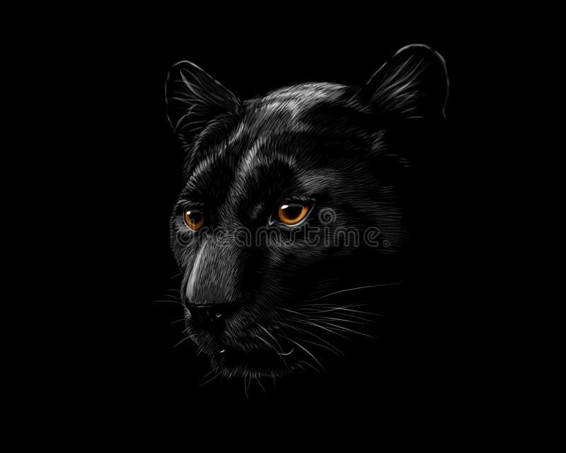 Tête d'une panthère noire illustration de vecteur