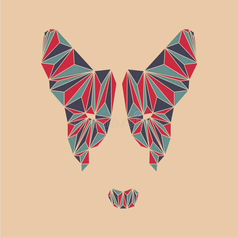 Tête de bull-terrier Visage de chien de polygone illustration de vecteur