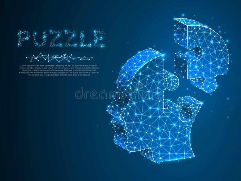 Tête de casse-tête Affaires Infographic Basse poly tête humaine au néon sous la forme de puzzle Wireframe polygonal Autisme de ve illustration de vecteur