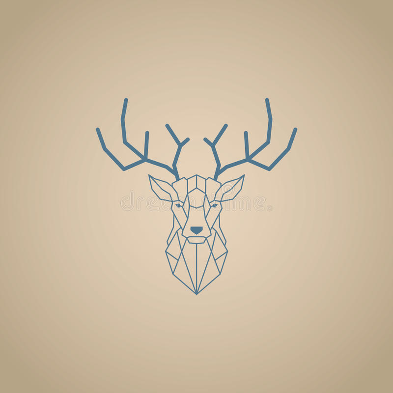 Tête de cerfs communs et conception polygonale de klaxons Vecteur bleu de couleur avec le fond brun illustration de vecteur