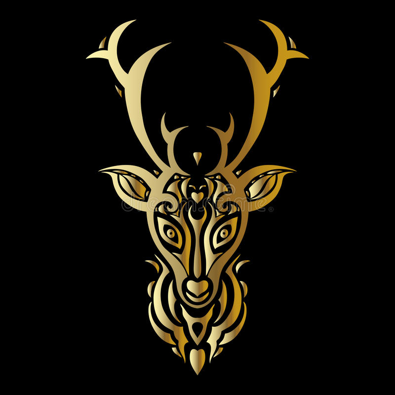Tête de cerfs communs Style polynésien de tatouage illustration stock