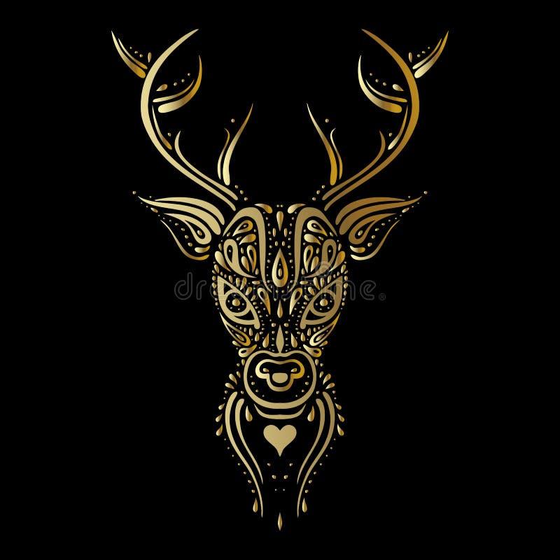 Tête de cerfs communs Style polynésien de tatouage illustration libre de droits
