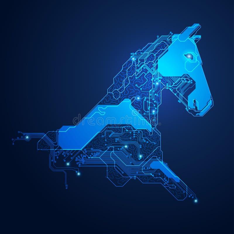 Tête de cheval électronique illustration de vecteur