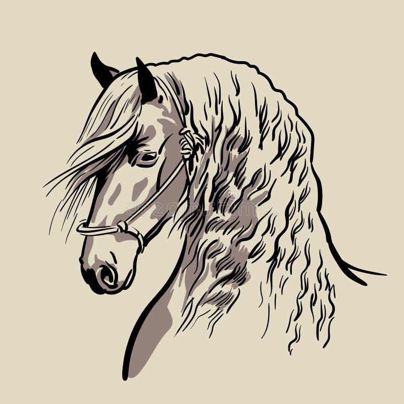 Tête de cheval avec une crinière Vecteur tiré par la main illustration libre de droits